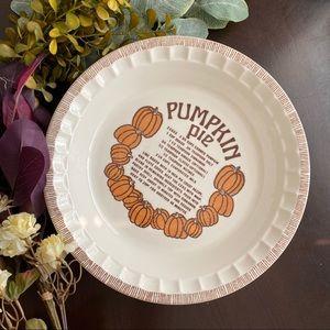 Vintage Kitchen - VINTAGE Pumpkin Pie Porcelain Plate Dish Recipe